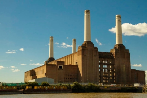A view of Battersea Power Station in 2012 from River Thames.