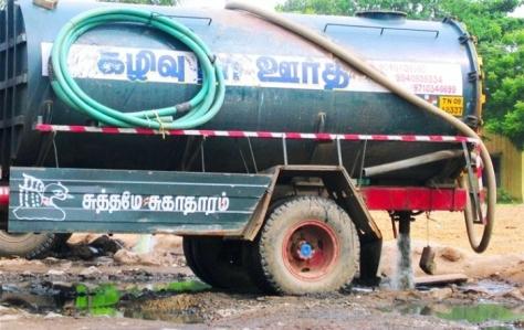 Dumping sewage into the Pallikaranai marshland.