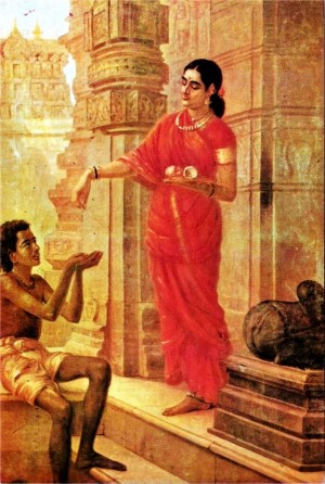 Lady giving alms at the Temple, by Raja Ravi Varma, (1848–1906)