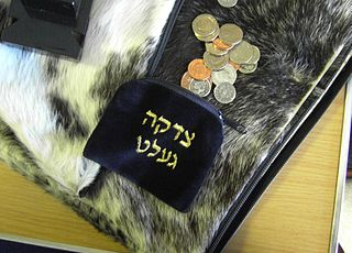 Tzedakah pouch and gelt (Yiddish for coins - money) on fur-like padding. (Photo - Cheskel Dovid)