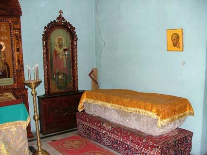Coffin of St. John Chrysostom in Komani, Georgia.