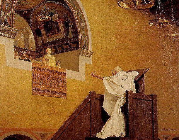 John Chrysostom confronting Aelia Eudoxia, in a 19th-century painting by Jean-Paul Laurens (1838-1921).