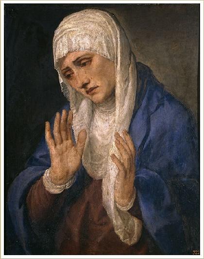 Mater Dolorosa with open hands. Artist: Titian 1555. Prado Museum, Madrid, Spain.