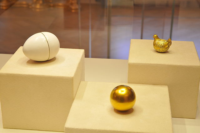 Russian Imperial Easter Fabergé egg, the Jeweled Hen Egg from the collection of Fabergé Museum in St. Petersburg.