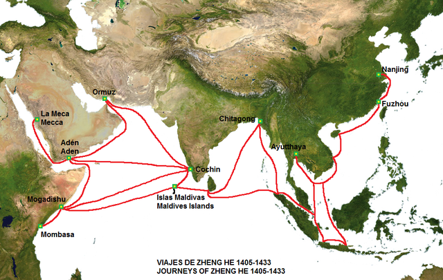 Map of the routes of the voyages of Zheng He's fleet