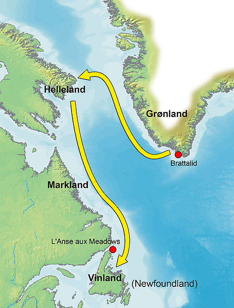 Map shows the route Leif Erikson took to reach Vinland