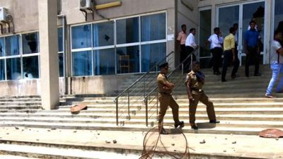 The protesters pelted the court premises with stones. . (Source: bbc.com)