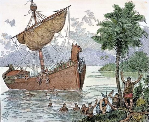 The Viking expedition led by Leif Eriksson lands on Vinland (Source: kids.britannica.com)