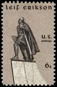 U.S. commemorative stamp issued 9 October 1968, Leif Erikson Day.