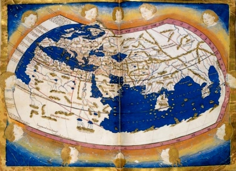"A 15th-century copy of Ptolemy's Map of the ""Old World"" by Jacob d'Angelo."