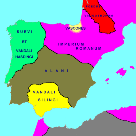 Hispania in 418 AD
