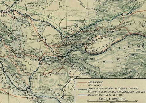 "John of Plano Carpini's great journey to the East. His route is indicated, railroad track style, in dark blue. From the ""Historical Atlas"" by William R. Shepherd, New York, Henry Holt and Company, 1923 (2nd edition)"