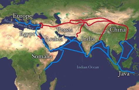 Main routes of the Silk Road/Silk Route. Red is land route and the blue is the sea/water route. (Source: NASA/Goddard Space Flight Center)