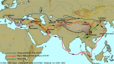Marco Polo's Route (Source: httpdepts.washington.edu)