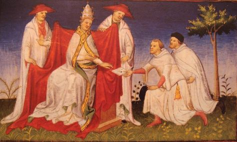 Niccolò Polo and Matteo Polo remitting a letter from Kublai Khan to Pope Gregory X in 1271.