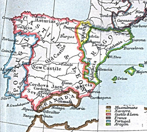 The five kingdoms of Iberia in 1360.