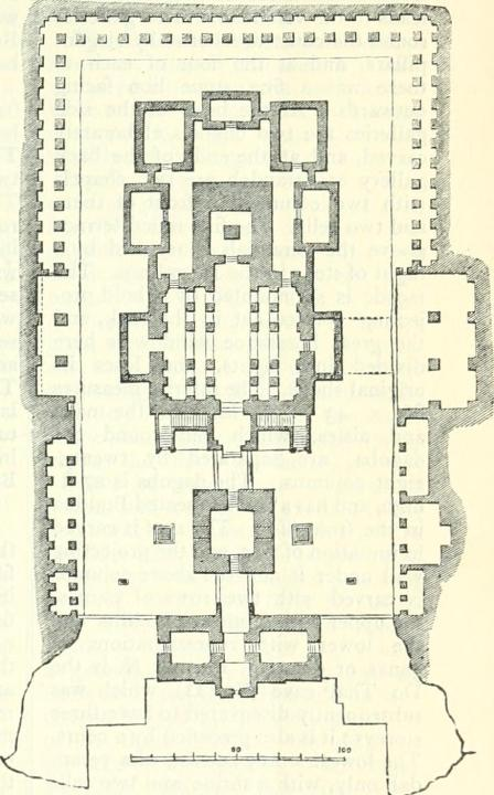 "Ground plan of Kailashnatha Temple at Ellora Caves, India. From ""A handbook for travellers in India, Burma, and Ceylon.""  Author John Murray (Firm)"