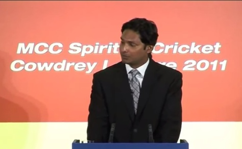Kumar Sangakkara delivering the Cowdrey Lecture  at Lord's at the invitation of the MCC on July 4, 2011. - 2
