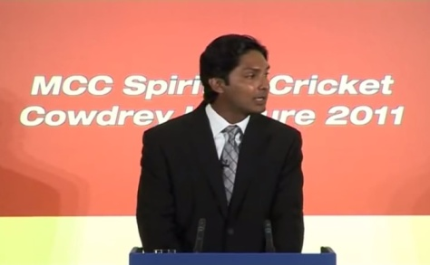 Kumar Sangakkara delivering the Cowdrey Lecture  at Lord's at the invitation of the MCC on July 4, 2011.