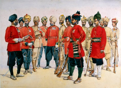Punjab Regiments, 1911. Watercolour by Major Alfred Crowdy Lovett (1862-1919). Copyright National Army Museum.