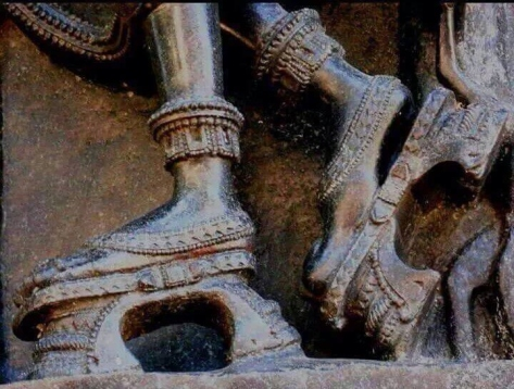 Fashionable ladies in India wore high heels 850 years ago exemplified in a sculpture at Ramappa Temple in Warangal, Telangana, India.