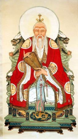 A painting of the Daode Tianzun ('the Heavenly Lord of Dao and its Virtue'), the deified Laozi, one of the supreme divinities of Daoism. (Source: eng.taoism.org.hk)
