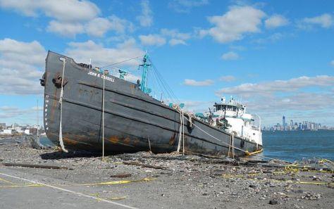 Tanker John B Caddell beached on Front Street, Staten Island (Photo: Jim Henderson)