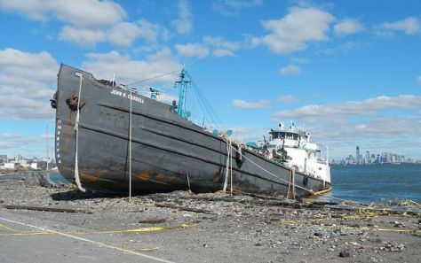 Tanker John B Caddell beached on Front Street, Staten Island (Photo: Jim Henderson)