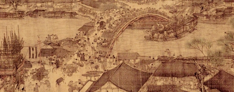 The bridge scene in the original Qing Ming Shang He Tu painting - An oncoming boat is in danger of crashing into the bridge.