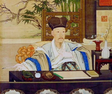 The Qianlong Emperor in his study, painting by Giuseppe Castiglione, (1688 - 1766).