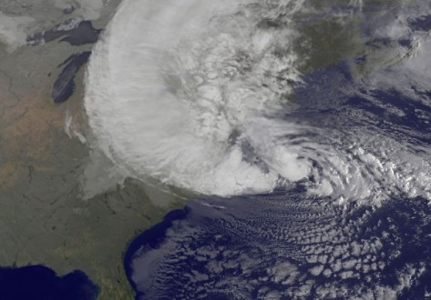 This satellite image from NOAA shows Sandy on the morning of October 29, 2012 as it was about to begin its approach to the coast of New Jersey (Source: voices.nationalgeographic.com)