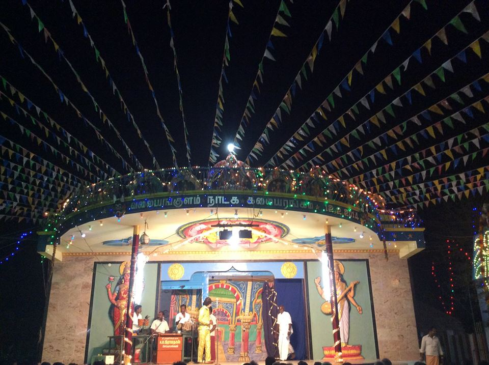 A drama performed at Valayankulam Thanilinga Perumal temple stage. (Source: Facebook/Art and Cultural Rights of Folk Artists)