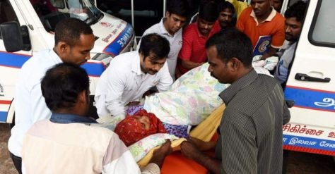 A patient getting shifted to another hospital from MIOT Hospital after flooding of the area due to heavy rainfall in Chennai . PTI