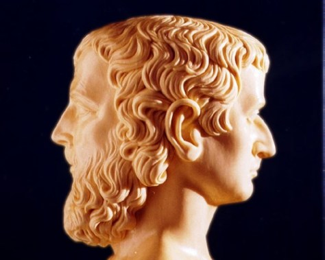 The Roman god Janus is usually depicted as having two faces, since he looks to the future and to the past (Source: storify.com)