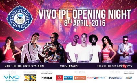 Vivo Indian Premier League 2016 (IPL 9) Opening Ceremony on April 8, 2016