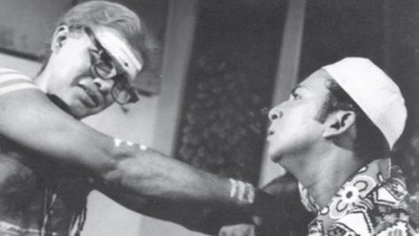 B. H. Abdul Hameed and S. Ramdas in a still from the film 'Komaligal' (1976)