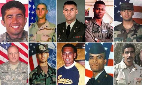 Faces of the fallen: Muslim Americans killed in combat are, top row, left to right: Staff Sergrant Daniel Isshak; Specialist Omead H. Razani; Captain Humayun Saqib Muazzam Khan; Marine Staff Sergeant Kendall Damon Waters-Bey; 1st Lieutenant Mohsin A. Naqvi; bottom row, left to right: Major James M. Ahearn; Specialist Kareem R. Khan; Specialist Rasheed Sahib; Specialist Azhar Ali; Staff Sergeant Ayman A. Taha. (Source: dailymail.co.uk)