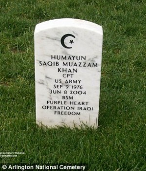 Tombstone for Capt. Humayun Saqib Muazzam Khan at Arlington National Cemetry