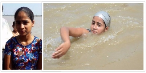 Sharada Shukla, 12-year-old swimmer (Photos: (L) – Hindustan Times; (R) – Bhaskar